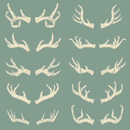 Set of hand drawn deer horns. Design elements for logo, label, emblem, sign, brand mark. Vector illustration. ЛОГОТИПЫ