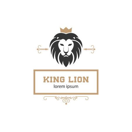 template with lion head. Design element , label, emblem, sign, brand mark. Vector illustration.