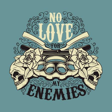 Geen liefde voor mijn vijanden. Messing knokkel en vintage bladen met rozen en menselijke schedels. T-shirt of poster afdruksjabloon. Vector illustratie.