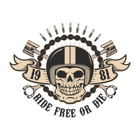monter libre ou mourir. Crâne humain dans le casque de moto avec des pistons. élément de design pour l'affiche, t-shirt imprimé. Vector illustration.