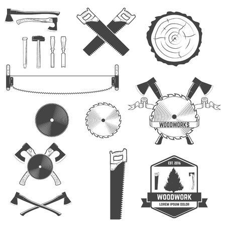 woodsman: Set of monochrome design elements for woodwork labels and emblems. Design element , label, emblem, sign, brand mark. Vector illustration.