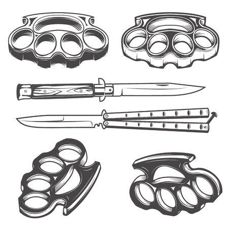 Set of the knives and brass knuckles. Vector illustration.