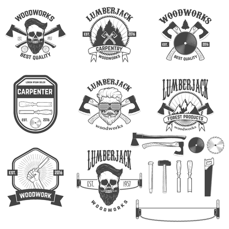 woodsman: Set of woodworks, carpentry labels, emblems and design elements. element for logo, label, emblem, sign, brand mark. Vector illustration.