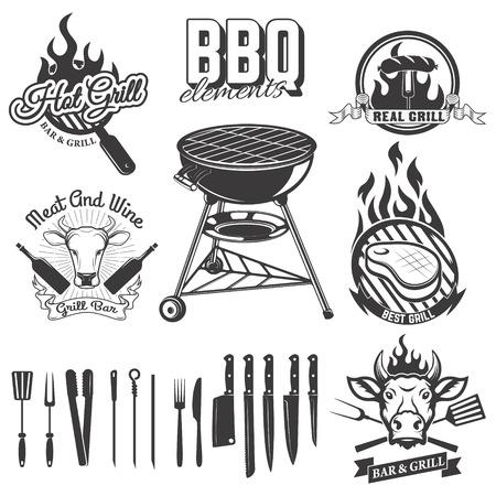 Bbq, grill bar emblems and badges. Set of kitchen tools.