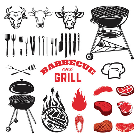 raw meat: Bbq and grill design elements. Cow heads. Kitchen tools. Steaks. Raw meat. Grilled fish. Illustration