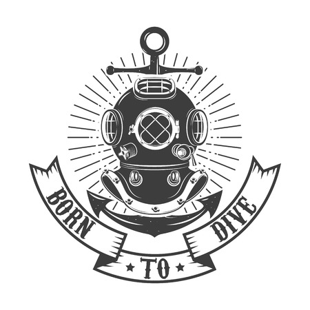dive: Born to dive. Vintage style diver helmet with anchor isolated on white background. Diving club or school emblem template. Vector illustration.