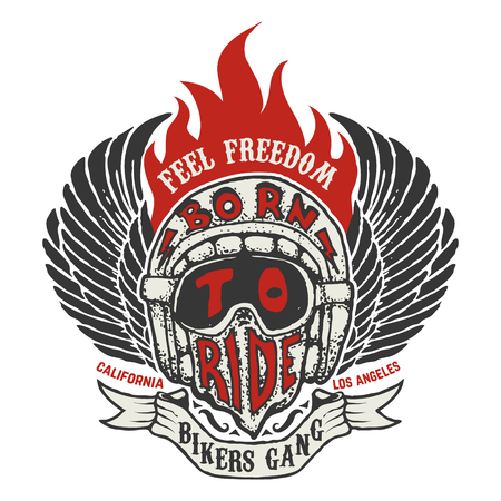 Feel freedom. Hand drawn biker helmet with fire and wings isolated on white background. Design element for t-shirt, poster. Vector illustration.