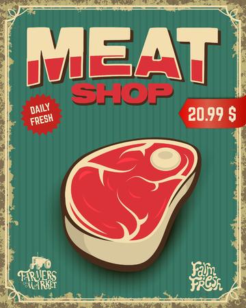 fresh meat. butcher shop. Vector illustration. 向量圖像