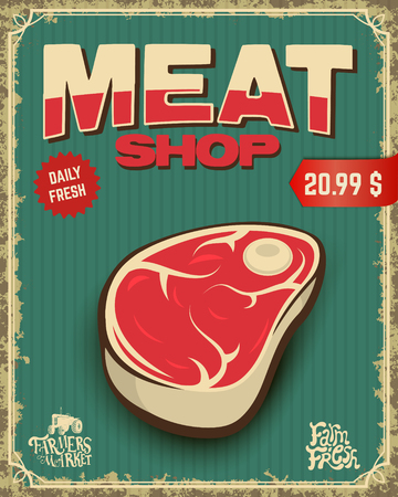 roast lamb: fresh meat. butcher shop. Vector illustration. Illustration
