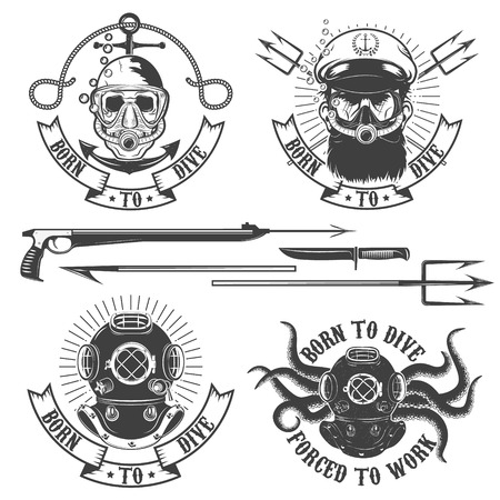 deep sea diver: Set of diver emblems. Diving club or school emblem template.