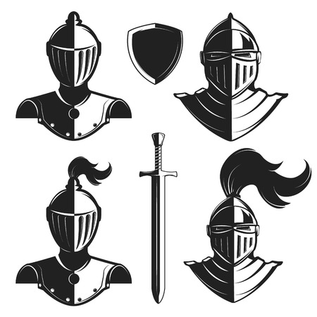 Set of knights helmets isolated on white background. Knight's sword and shield. Illustration