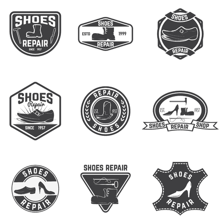 shoe repair: Shoes repair labels. design elements
