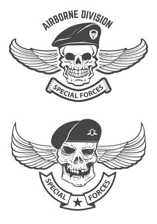 special forces. Winged skulls in military headdresses. Design elements for emblem, badge. Vector illustration.  イラスト・ベクター素材