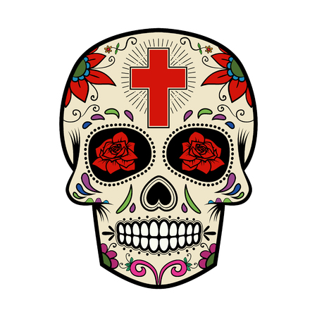 Sugar skull isolated on white background. Day of the dead.  Vector illustration.