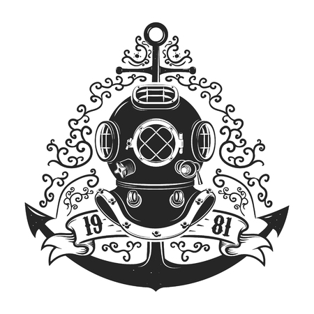 deepsea: Vintage style diver helmet with anchor isolated on white background. Diving club or school emblem template.Vector illustration.