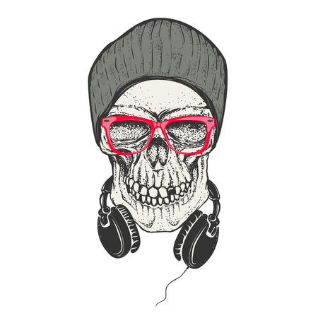 Hipster skull in hat and sunglases. Skull with headphones. Design element for t-shirt print. Vector illustration.