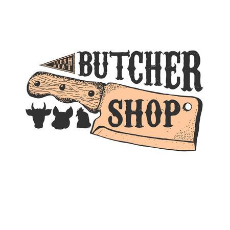 Hand drawn meat cleaver. Butcher shop emblem template. Butchery. Vector illustration. Illustration
