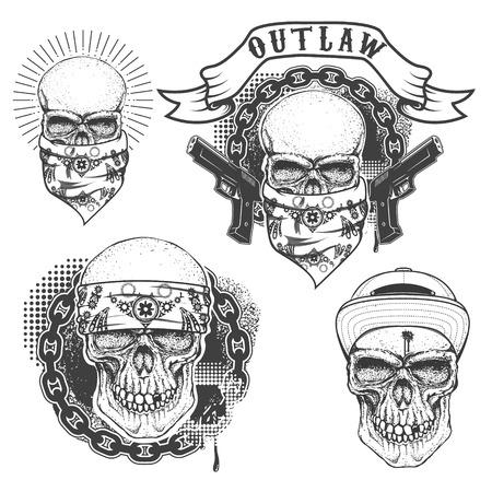 Conjunto de tatuaje gángster. Dibujado a mano cráneo con el pañuelo. Cráneo en el sombrero. Proscrito. Elementos de diseño de cartel, emblema, camiseta de impresión. Ilustración del vector.