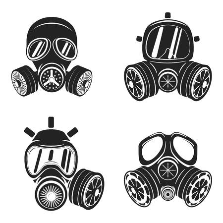 gas mask danger sign: Set of gas masks isolated on white background.