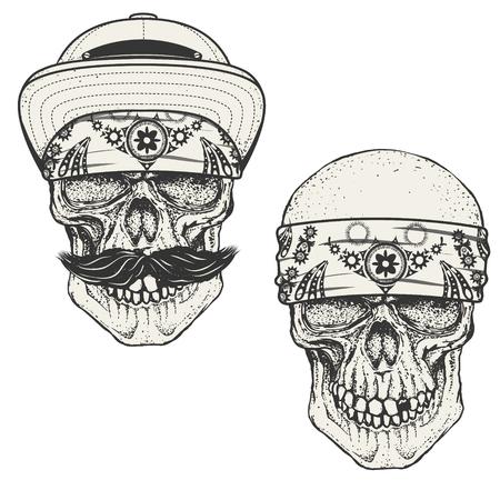 Définir des crânes humains en bandana et une casquette. crâne Gangster. Les éléments de conception pour emblème, poster, t-shirt ou un vêtement imprimé. Vector illustration. Vecteurs