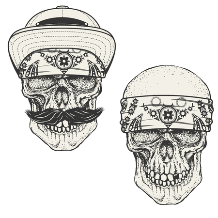 gangsta: Set of the human skulls in bandana and cap. Gangster skull.  Design elements for emblem, poster, t-shirt or apparel print. Vector illustration.