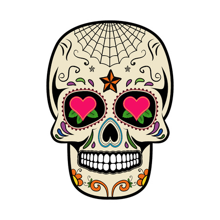 Sugar skull isolated on white background. Day of the dead.  Vector illustration. Reklamní fotografie - 62781166