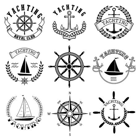 yachting: Yachting club labels. Yacht club. Nautical emblems. Vector design elements.