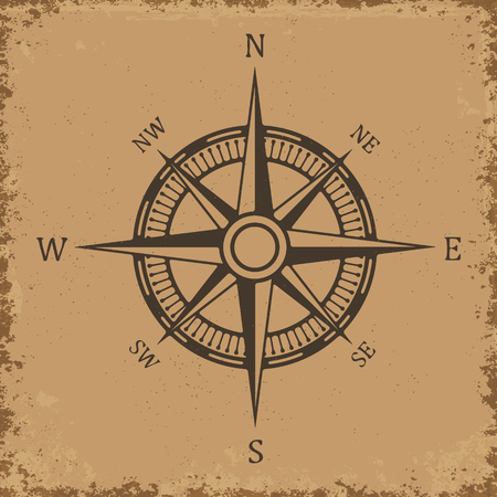 compass rose: Compass. Wind rose on grunge background. Old compass for card design. Vector design element. Illustration
