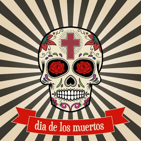 day of the dead. dia de los muertos.  Sugar skull on vintage background with banner. Vector illustration. Illustration