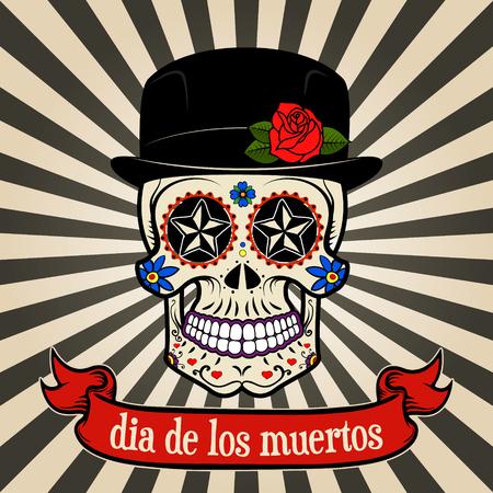 dag van de Doden. dia de los muertos. Sugar schedel op vintage achtergrond met banner. Vector illustratie.