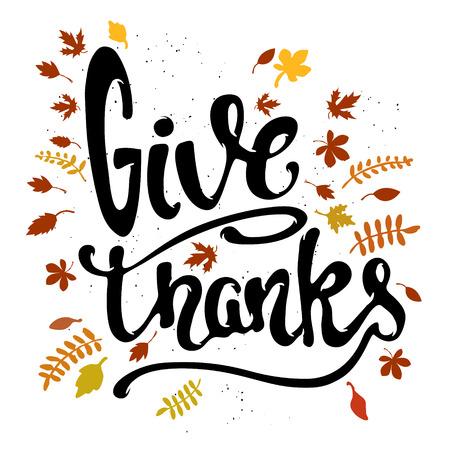 Danken. Hand gezeichnet Beschriftung mit gelben Blättern auf weißem Hintergrund. Frohes Thanksgiving. Vektor-Illustration.