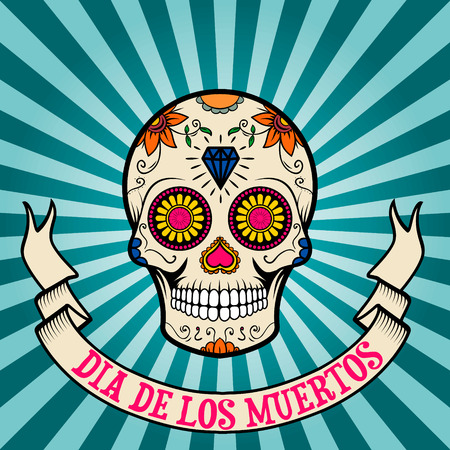 day of the dead. dia de los muertos.  Sugar skull on vintage background with banner. Vector illustration.  イラスト・ベクター素材