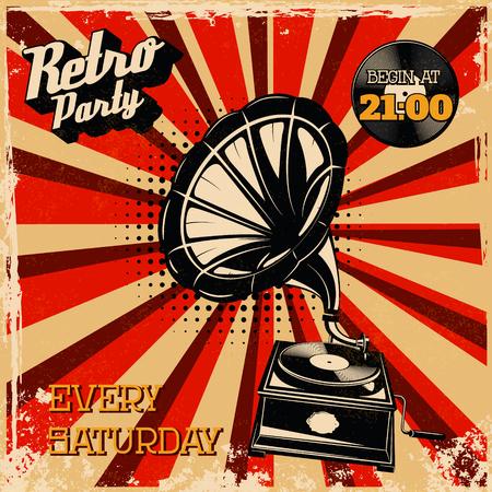 Retro party vintage poster template. Vintage style gramophone on grunge background. Design element for flyer, poster. Vector illustration. Illustration