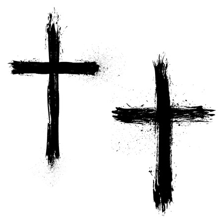 Set of Abstract Grunge Crosses. Vector illustration.