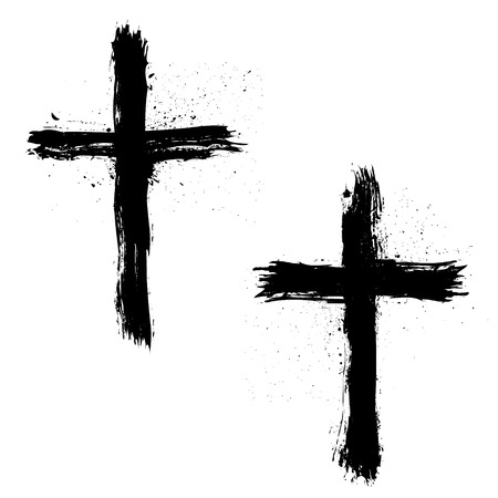 crosses: Set of Abstract Grunge Crosses. Vector illustration.
