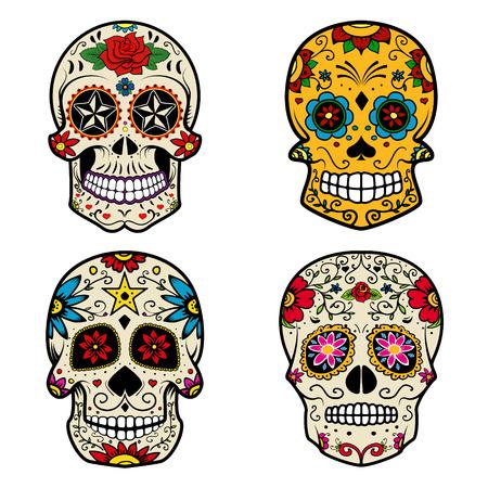 Set van Sugar schedels op een witte achtergrond. Dag van de Doden. Vector illustratie.