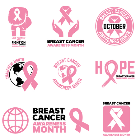 Breast Cancer Awareness month emblems, badges and design elements. Pink Ribbon.  Vector illustration  イラスト・ベクター素材