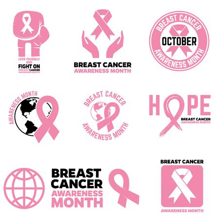 Breast Cancer Awareness month emblems, badges and design elements. Pink Ribbon.  Vector illustration Illustration