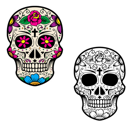 Set of sugar skulls isolated on white background. Day Of The Dead. Dia De Los Muertos. Vector illustration.