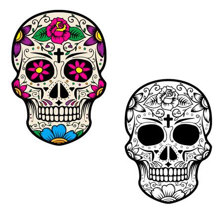 Ensemble de crânes en sucre isolé sur fond blanc. Le jour des morts. Dia De Los Muertos. Vector illustration.