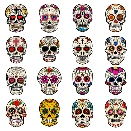 Set of Sugar skulls isolated on white background. Day of the dead.  Vector illustration.