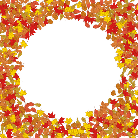 Frame from yellow autumn leaves.Design element for poster, flyer. Vector illustration.