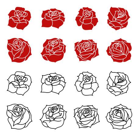 Impostare delle rose fiori sagome isolato su sfondo bianco. Elementi di design nel vettore.