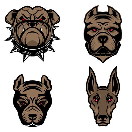 Conjunto de las cabezas de perros aislados sobre fondo blanco. Pitbull, doberman, dogo. Elemento de diseño para el logotipo, sello, emblema, muestra, marca de la marca. Ilustración del vector.