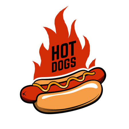 Hot dogs. Hot dog in retro style with fire isolated on white background. Fast food. Design element , label, emblem, sign. Vector illustration. Illustration
