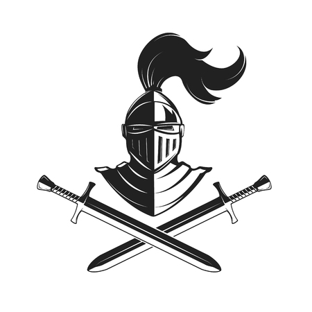 chivalry: Knight helmet with two swords isolated on white background. Design elements, label, emblem, sign, brand mark. Vector illustration.