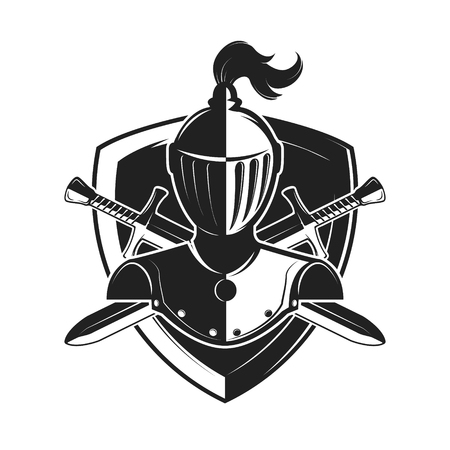 Knight helmet with two swords and shield isolated on white background. Design elements, label, emblem, sign, brand mark. Vector illustration.