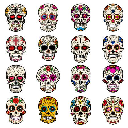 Conjunto de cráneos de azúcar aislados en el fondo blanco. Dia de los Muertos. Ilustración del vector. Foto de archivo - 64411455