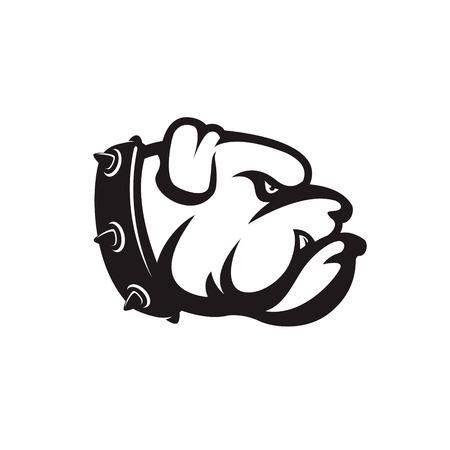 bulldog head isolated on white background. Design element , label, emblem, sign, brand mark. Vector illustration.