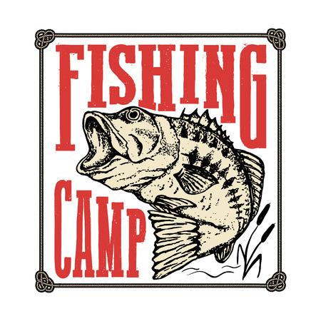 Fishing camp. Hand drawn bass fish illustration. Design elements for logo, label, emblem, sign, brand mark. Vector illustration.